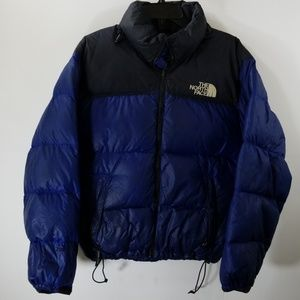 The North Face Blue and Black Quilted Zipper Coat